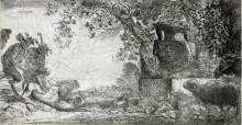 Sátiro reclinado ante un gran jarrón,  c 1645-8