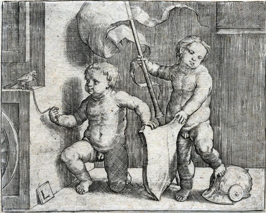 Dos niños con un pájaro, un escudo y un yelmo, c. 1510
