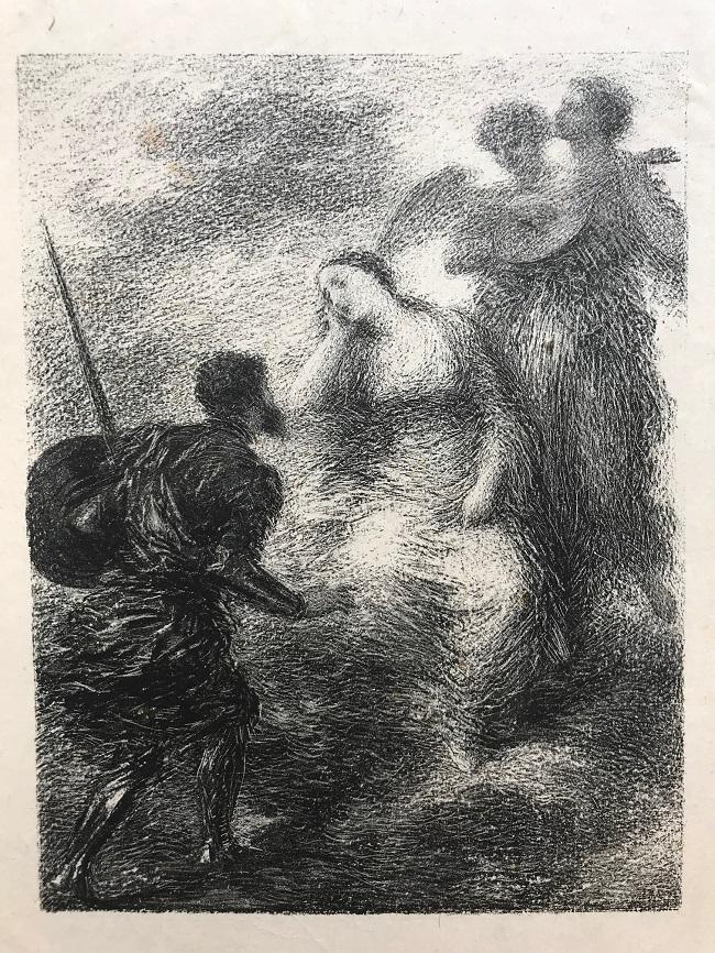 Encuentro de un caballero con una mujer y dos ángeles músicos, 1895